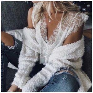 Ivory ultra soft popcorn eyelash cardigan sweater